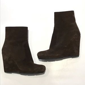 Prada Brown Wedge Ankle Boots Suede 39 Runs Small